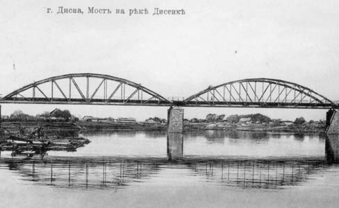 Bridge across the Disna.<br />Photo taken at the beginning of the 20<sup>th</sup> century.