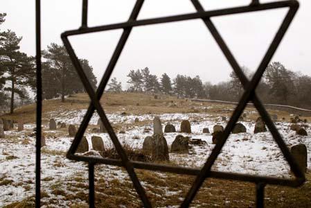 Звезда Давида на воротах еврейского кладбища в Друе.