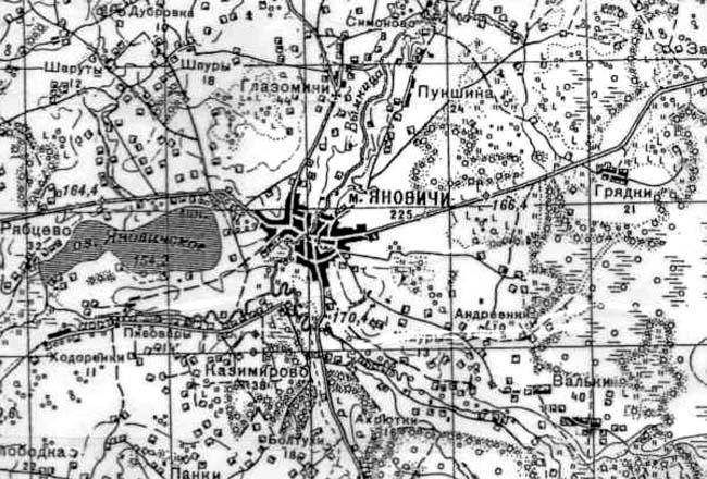 Местечко Яновичи на карте Генерального штаба Красной Армии (июнь 1941 г.).