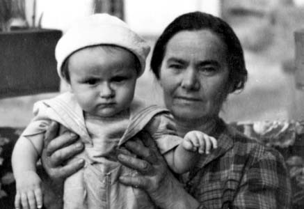 Yevgenia Andreyevna Gritz with grandchild. Photo taken in 1965.