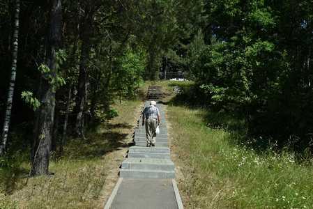 Дорожка, ведущая к памятному кургану.