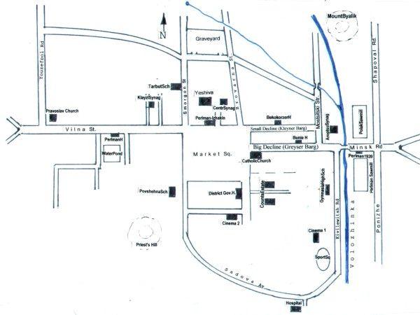 Карта еврейского Воложина.
