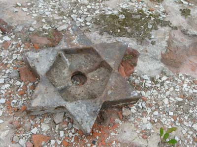 These metal Magendavids were taken off the walls of the church during restoration work.