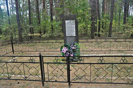 Место расстрела мирных жителей местечка Дараганово во дворе школы.