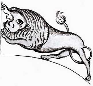 «Леў» з роспісаў магілёўскай сінагогі.